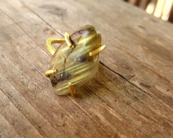 Labradorite Ring * Gold Ring * Statement Ring * Gemstone Ring * Labradorite * Bridal Ring *Hammered Ring* Organic Ring * Natural
