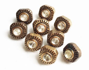 tiny vintage antiqued bronze tone plastic square shank buttons with colorless rhinestone centers--matching lot of 9