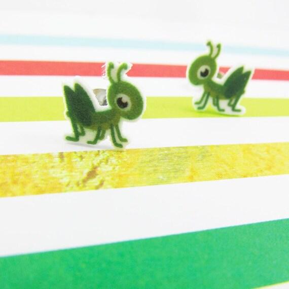 Grasshopper, green, insect, earring, green grasshopper, print on plastic, stainless stud, handmade, les perles rares