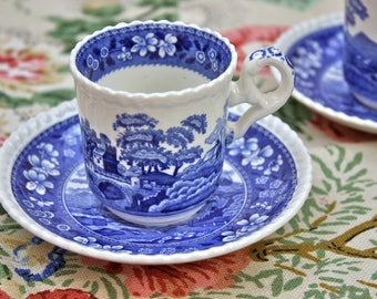 Spode Demitasse Cup and Saucer Set, Blue and White Transferware, Spodes Tower Pattern, Old Spode, c1920s, Vintage Tea Party