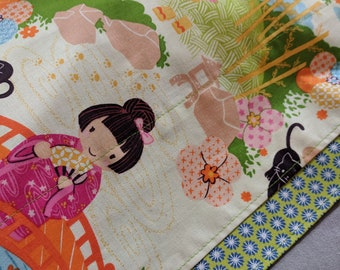 Little Asian Girl Nation Pillowcase Set - Reversible! - Green and Silver Shimmer! Floral Back - Standard Size - Cotton - 20 x 30""