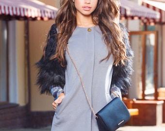 Coat of cashmere with fur sleeves Cashmere coat Gray coat Women coats Black coat Long coat Worm coats Blazer coat Coats with round buttons