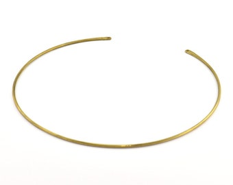 Brass Choker Findings, 2 Raw Brass Wire Choker Collar Findings With 2 Holes, Necklace Blanks (135x1.8mm) P001