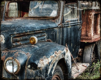 Route 66 : old truck photography relic abandoned truck photo vintage ford rust blue teal home decor 8x10 11x14 16x20 20x24 24x30