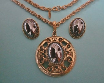 Vintage Whiting and Davis Necklace and Earrings Set