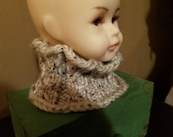 Cabled Cowl for a 2 to 6 year old child in heathered oatmeal color