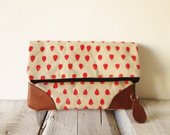 Canvas Clutch bag, Canvas and leather clutch, Pouch, Red, Raindrops