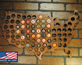 USA Beer cap map stained country outline walnut mahogany ebony Birch wood or Sande wood