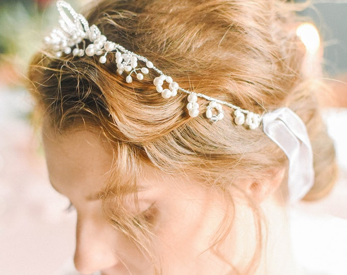 Pearl Headband, Bridal Pearl Tiara, Pearl Tiara, Wedding Tiara, Bridal Tiara, Pearl Crown, Wedding Headpiece, Bohemian Wedding, Style 318