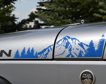 Jeep Wrangler JK Extended Hood with Mountains and Trees Decal 4pc Set