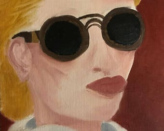 Original Oil Painting Abstract Portrait Sunglasses, Oil on Canvas Panel