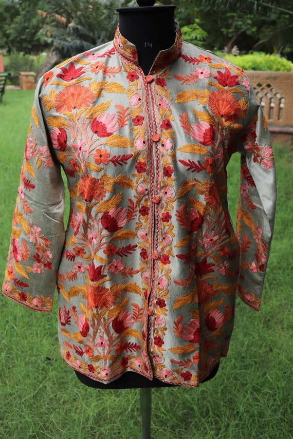 Raw Jacket Shirt Wear Clothing Jackets Coats Wedding Coat Women Indian Woman Ethnic for Jacket Party Embroidered Short Silk Clothing qU4TTzpR
