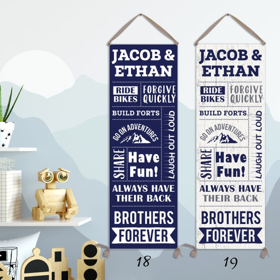 Brothers Wall Art - Personalized on Canvas - Brothers Rules, Brothers Forever Sign  - CG11