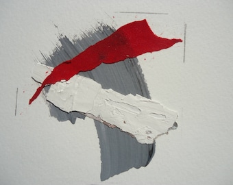 """Small Painting- Collage 2-mixedmedia-material-abstract-informal.Size 7.8 """"x7.8"""