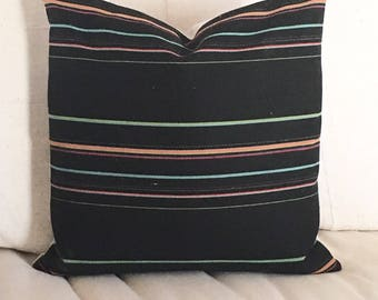 Kilim Style  Pillow  Bohemiam Stripe on Licorice Black   20x20  Dramatic Bold  Boho / Modern / Southwest