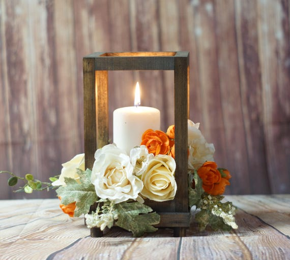 Rustic wood candle lantern wedding
