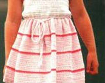 Girls Crochet Dress Pattern, instant download pdf, sizes 4, 5, 6 years, 4 ply yarn or wool