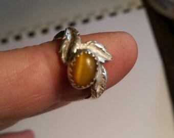 Tigers Eye Leaf ring size 7