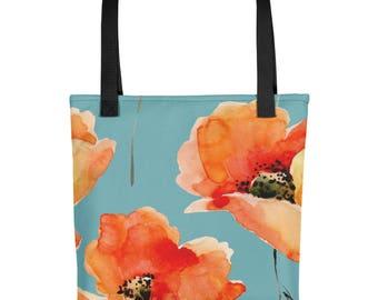 Poppy Flower Tote Bag, Poppies, Tote Bag, Watercolor Poppies, Flower Print, Poppy Print, Orange Poppies, bag blue orange tote flowers