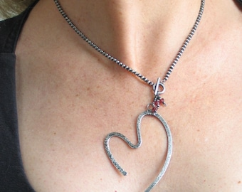 Sterling Silver Forged Heart Pendant, Open Heart Pendant VIII, All Sterling Artisan Original with Heart, Handmade Sterling Beaded Chain