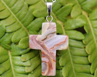 Crazy Lace Agate Cross Necklace, Crucifixion, Jesus, Easter, Christian, First Communion, Stone Cross, Baptism, Cross Pendant