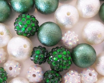 Green and White Bead Collection, 10mm beads and larger, K29