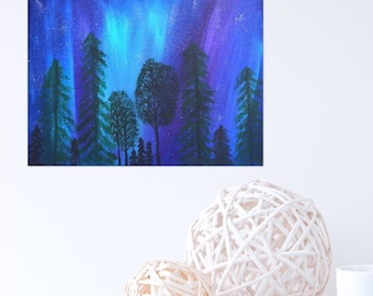 Aurora Borealis Art Northern Lights 9 x 12 Painting - Sky Painting -Canvas Painting Wall Hanging - Acrylic Painting - Landscape Art