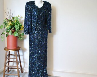 Vintage Gown Sequin Party Suit 1980's Beaded Dress and Jacket Set Party Laurence Kazar Glitter Cocktail Size Small