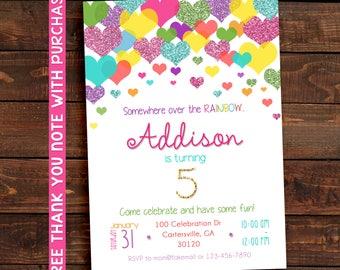 Rainbow Party Invitation, Printable, Birthday,  5x7. FREE THANK YOU Card!