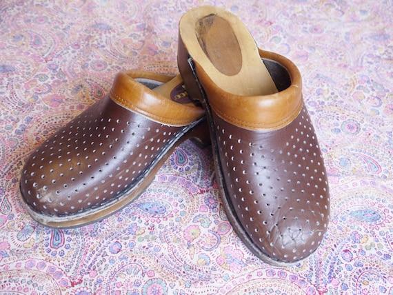39 platform wooden brown 6 70s uk Sanastico eu sandals 8 us shoes F2 Vintage holes boho clogs FwHgP8qf