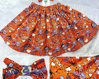Comic Pow Girls Twirl Skirt & Bow Set