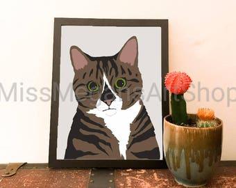 Striped Cat Digital Art Print