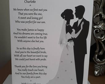 Handmade Personalised A5 Wedding Card To A New Daughter in Law