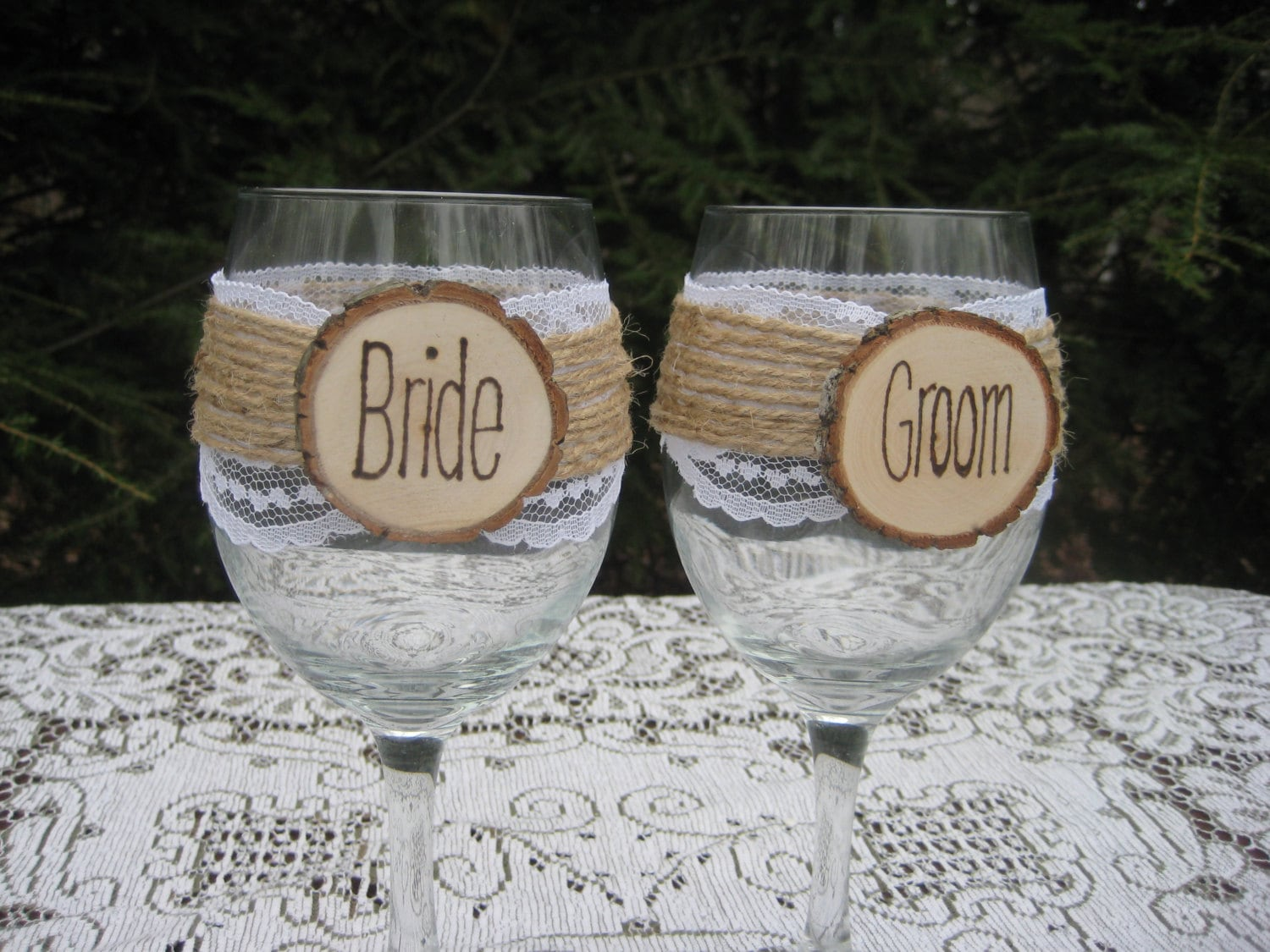 Best Wedding Wine Glasses Bride and Groom Glasses Rustic Wine XL23