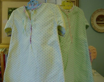 2 Handmade Flannel Baby Gowns, Vintage Nursery Decor