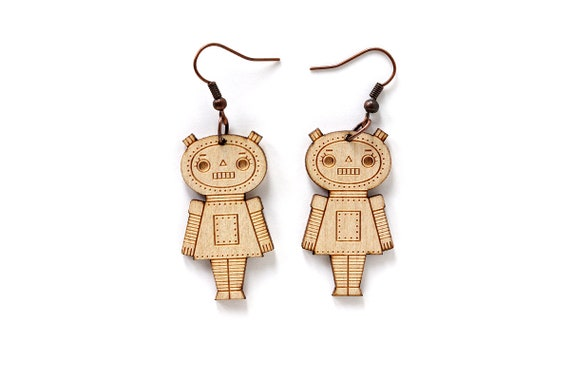 Robot earrings - lasercut maple wood - geek earrings - robot girl jewelry - jewellery - lasercutting