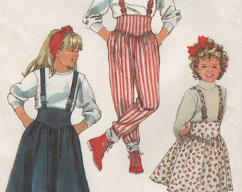 Girls Suspender Skirts and Pants, Straps Cross in Back, Size 8 10 12 Vintage Uncut Sewing Pattern, 1980s
