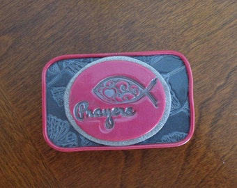 """Prayer box,  """"Prayers"""" in pink and silver textured polymer clay"""