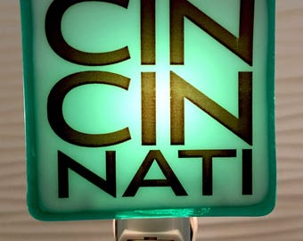 Cincinnati Ohio Fused Glass Night Light