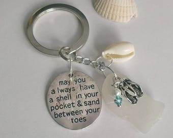 May you always have a shell in your pocket and sand between your toes key ring with sea glass.