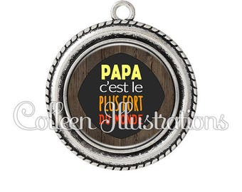 1 pendant cabochons 25mm strongest Dad in the world - series