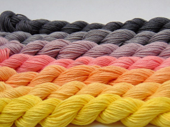 Sweet Disappointment- 100 Organic Cotton Hand dyed, Hand Painted Ombre Yarn