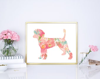 Poodle watercolor floral dog print, modern nursery print, boho chic nursery print, pink nursery print, chic wall decor, floral print 8x10