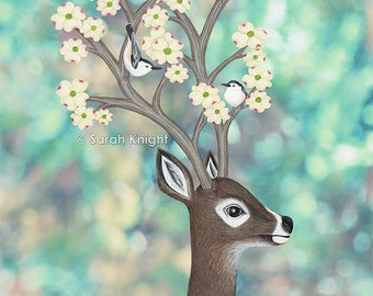 white tailed deer, white breasted nuthatches, & dogwood blossoms, signed art print 8X10 inches - Sarah Knight, birds flowers spring green