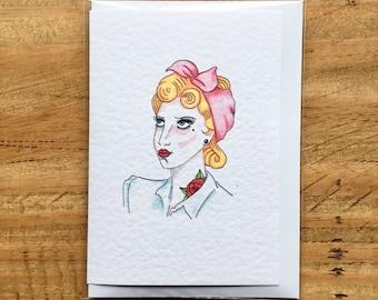 50's Vintage Blonde Greeting Card