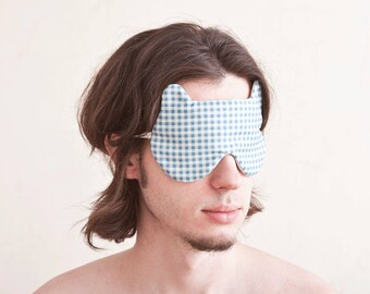 Bear Sleep Mask, Gifts for Boyfriend, Best Gift for Him, Blue Comfortable Sleeping Mask, Mens Gift, Fathers Day Gifts, Ttravel gifts for Men
