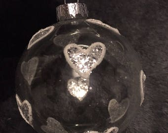 White love heart Chritmas tree decoration - bauble - Chritmas decor - Glass