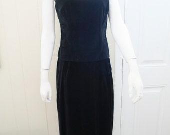 1950s Black velveteen 2 pc. top & skirt LBD-Little Black Dress AS FOUND