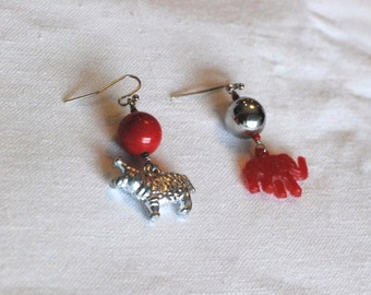 HARLEQUIN SAFARI Unique Handmade Earrings Using Vintage Beads and Charms