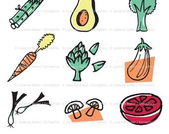 Retro Kitchen Vegetable Clipart